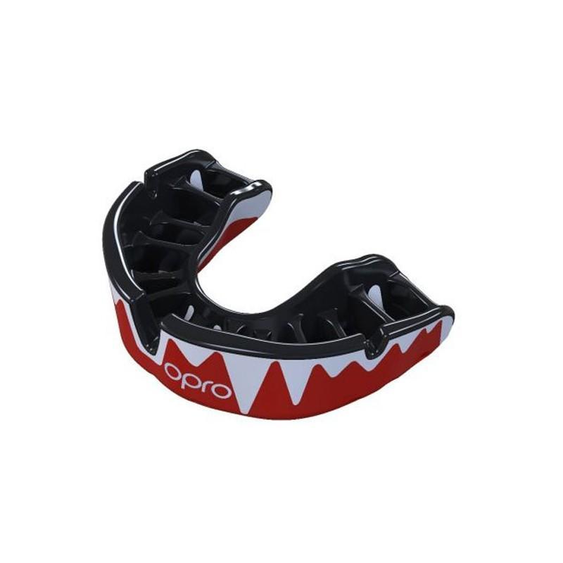 OPRO GEN4 Platinum Fangz Mouthguard - Silver/Black/Red