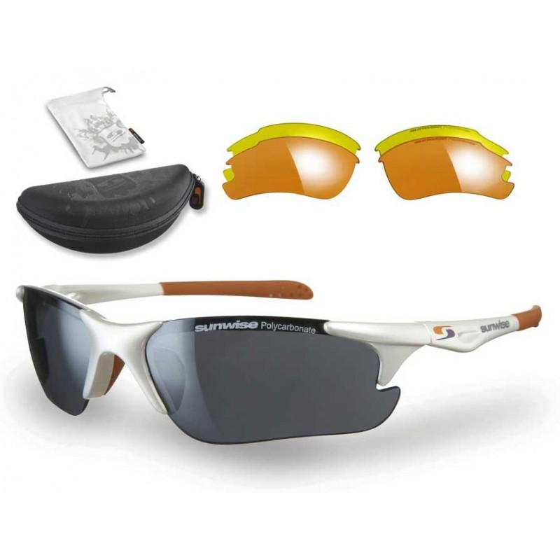 Sunwise Twister Interchangeable Sunglasses (White) + FREE Hard