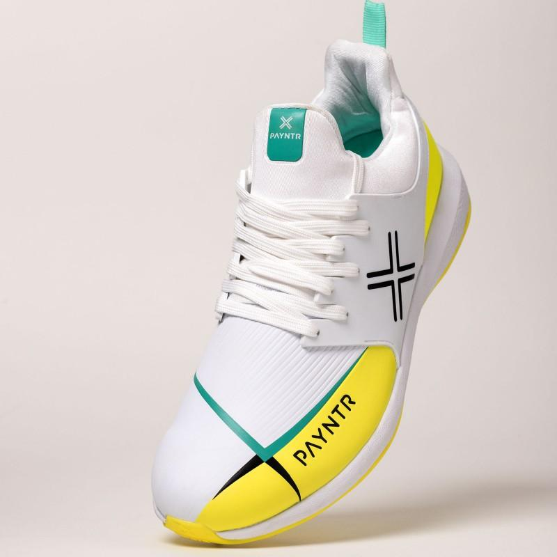 Payntr X MK3 Spike Cricket Shoes - White/Yellow (2019)