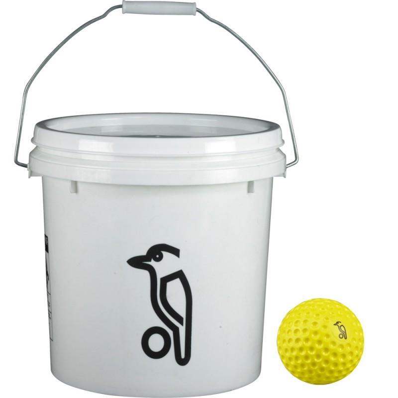 Kookaburra Bowling Machine Balls (24 + Bucket) - Yellow