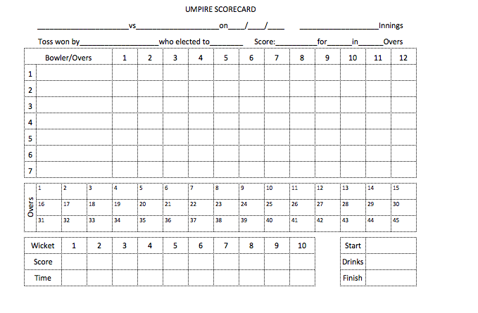 Cricket Umpire Match Cards 55 overs