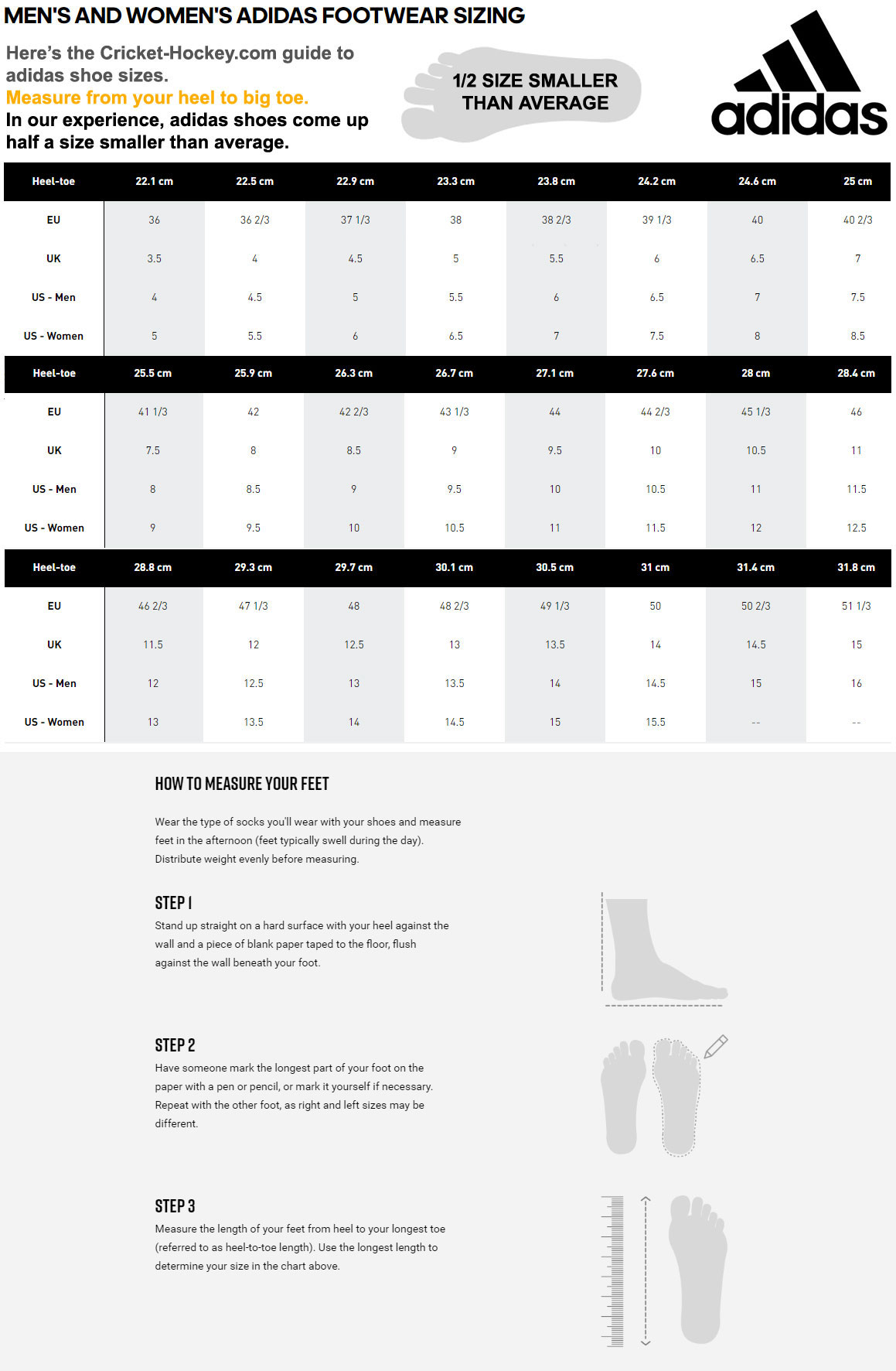 Adidas Shoe Size Guide