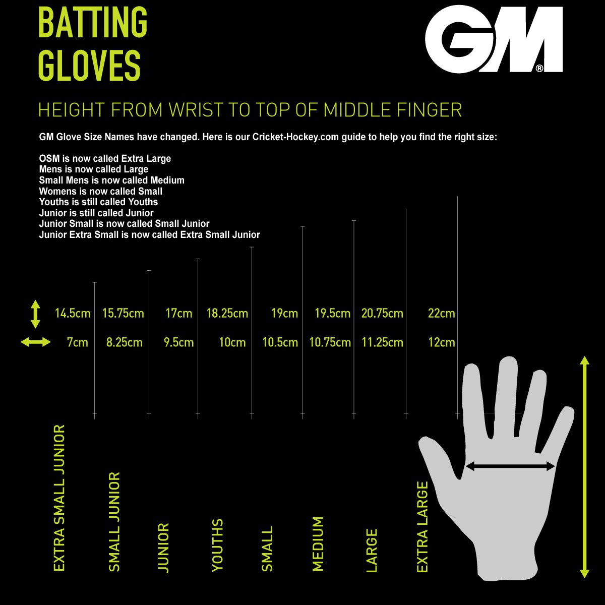 GM Glove Size Guide